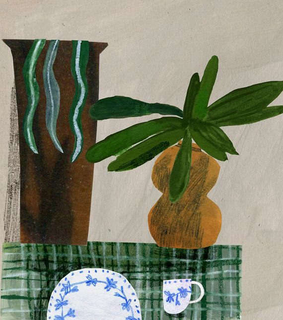 Pot Plants with Cup and Plate - Emma Lewis