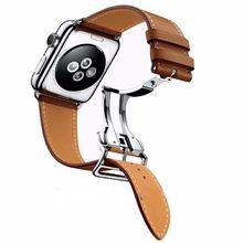 Enkele tour bruin lederen horlogeband voor apple watch serie 2 Band voor iWatch 1st 2nd Rvs Gesp Pols Strap(China (Mainland))