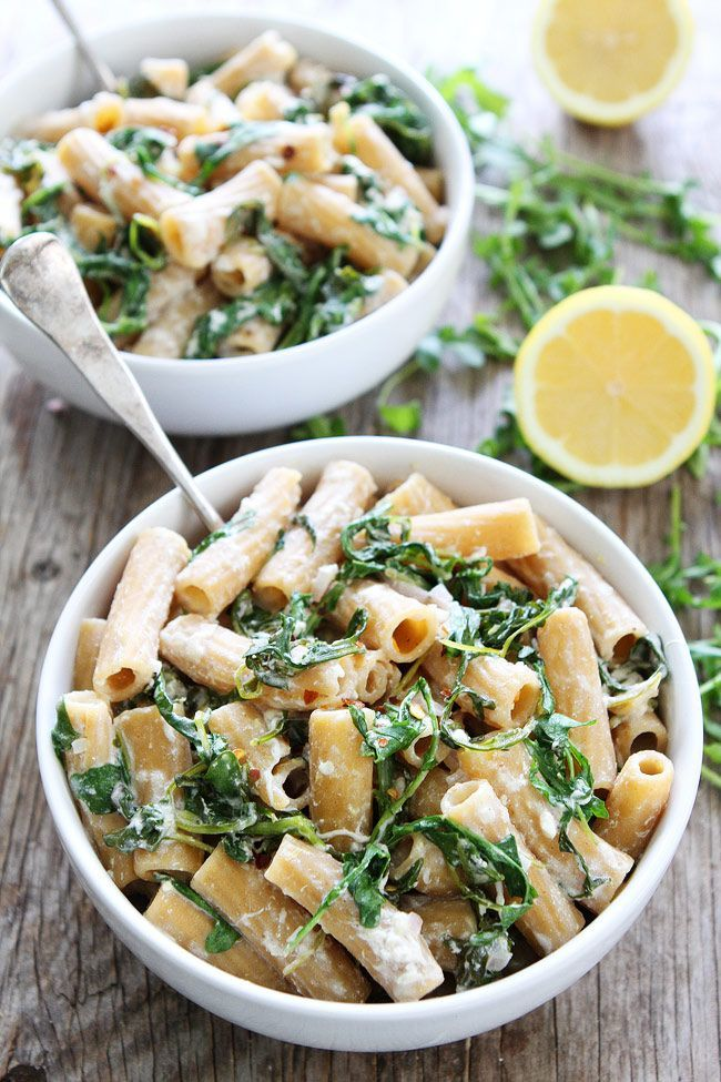 Lemon Arugula Pasta with Burrata Recipe on http://twopeasandtheirpod.com You only need 7 ingredients and 30 minutes to make this quick and easy pasta with lemon, arugula, and burrata cheese. It is a family favorite!