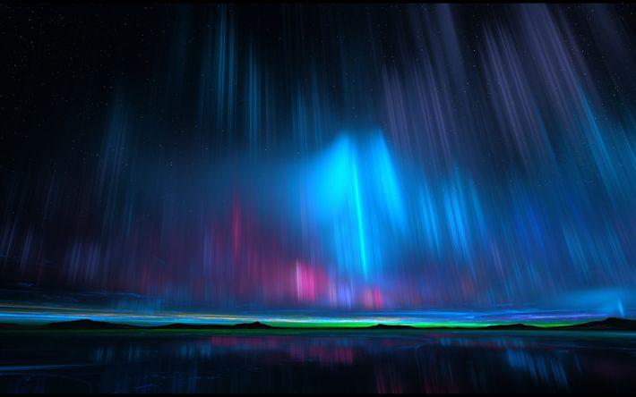 Hämta bilder norrsken, natt, horisont, vackra landskap