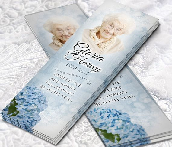 Blue Hydrangea Celebration of Life Funeral Bookmarks • Watercolor Flower Bookmarks for Funeral • Memorial Bookmark for Grandma Death dianne sincich
