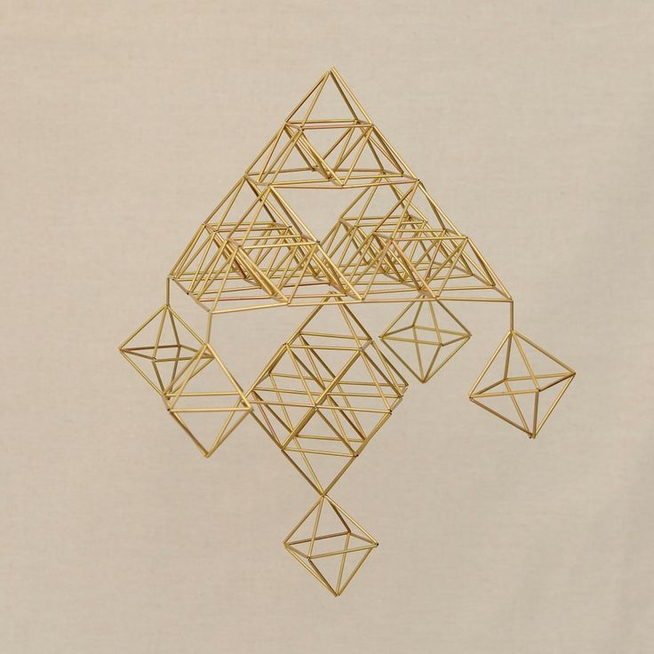 Fractal Sierpinski Pyramid 3D FAMILY Himmeli Hanging Brass Mobile Home Decor