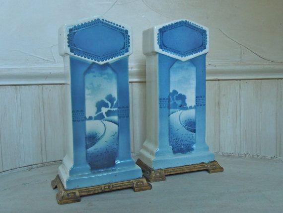 Vintage Asian Vase Blue White Ironstone Vase Pair by frenchtwine, $75.00