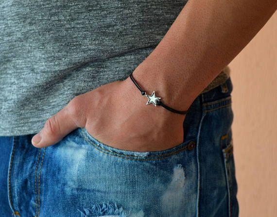 mens bracelet, bracelet for men, men's bracelet with a star, black cord bracelet, inspiration jewelry, charm bracelet, string bracelet,