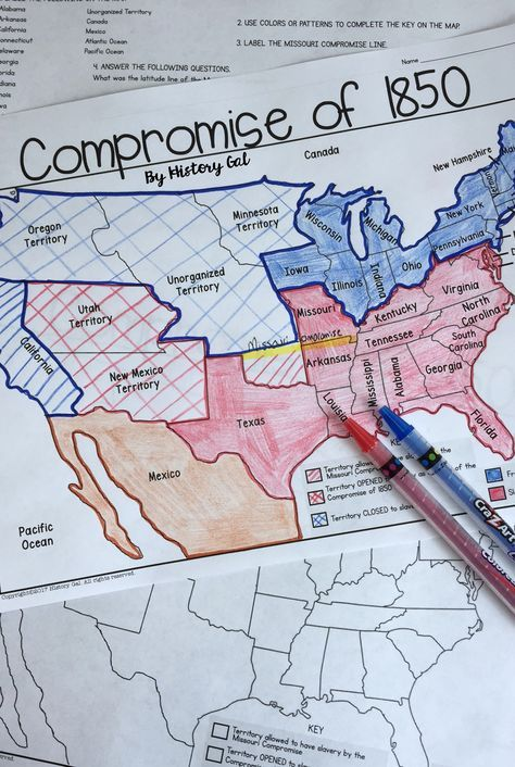 Compromise of 1850 Map Activity - Use this four page resource to help your 6th, 7th, 8th, 9th, 10th, or 11th grade students better understand the Compromise of 1850. Label and color the map & answer questions to incorporate more geography into your United States history lessons. {sixth, seventh, eighth, ninth, tenth, eleventh graders - US history - middle school - high school - upper elementary} $