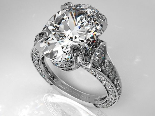 Large Oval Diamond Cathedral Graduated pave Engagement Ring circa 1928 Paris