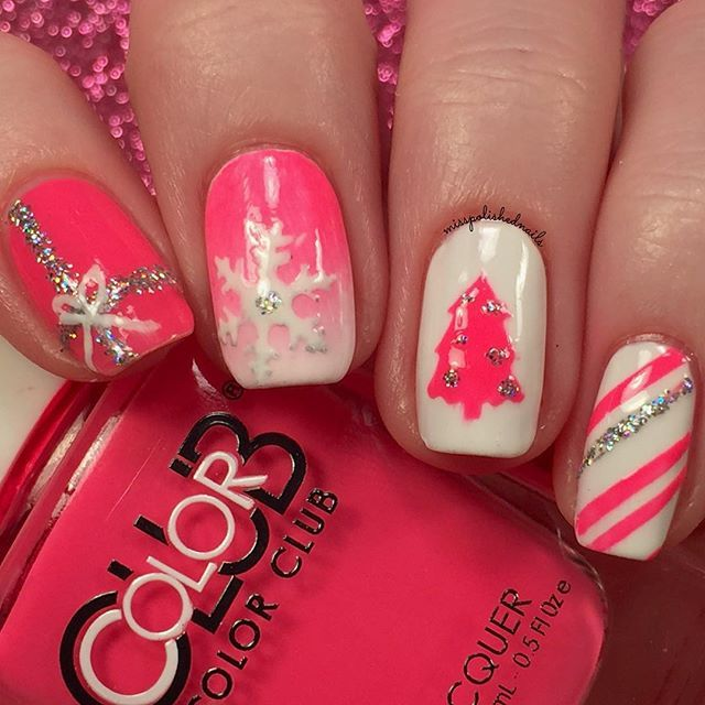 Pink Christmas nails                                                                                                                                                                                 More