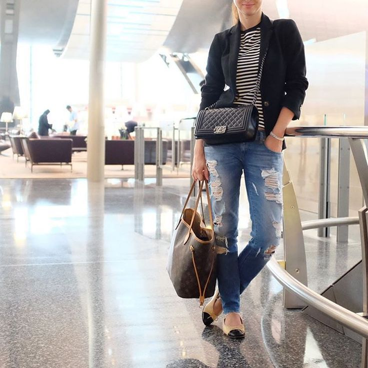 airport chic, chanel flats and boy bag in old medium black lambskin, diesel ripped jeans, louis vuitton neverfull, uniqlo stripes tee, black jacket, streetstyle dubai Yasmin_dxb instagram