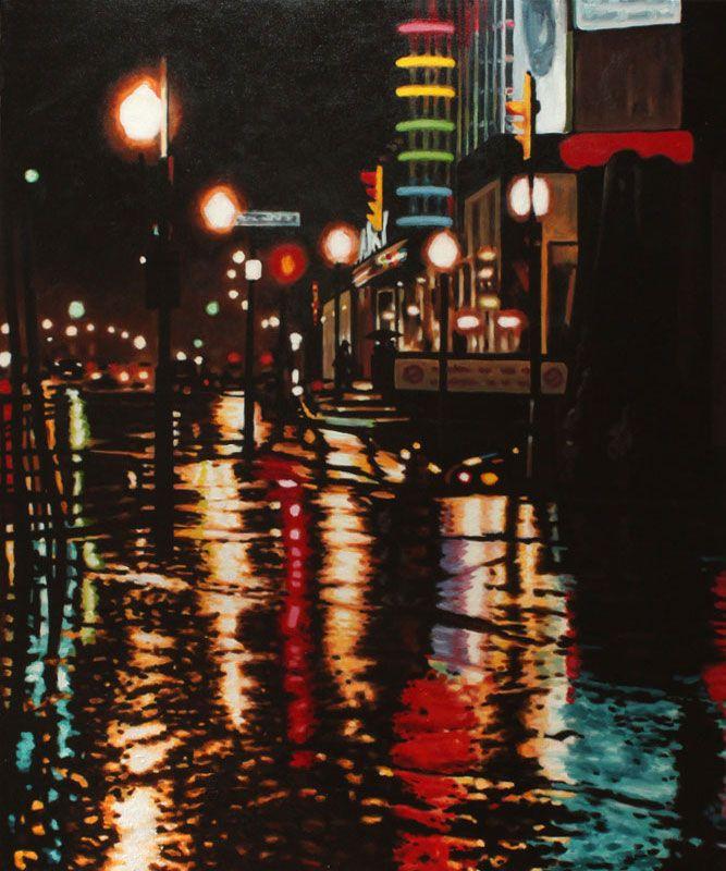 "Film Noir - oil on canvas, 36 x 30"" (90 x 75 cm) - Galaxy Cinemas reflected on a rainy night in Peterborough"