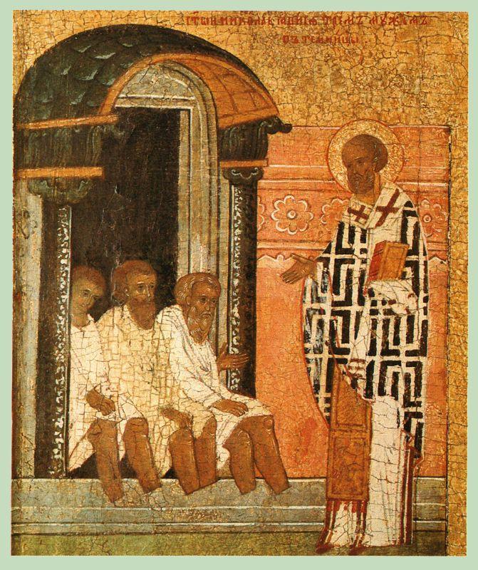 XVI в. Никола с житием.  Клеймо. Никола является трём мужам в темнице