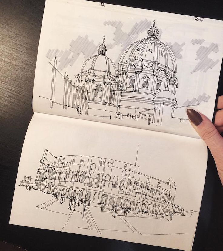 freehand architectural drawings