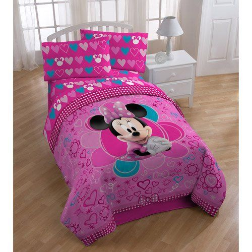 """Disney Minnie Mouse Comforter Twin / Full Size by Disney. $48.99. Twin/Full: 72"""" x 86"""". 100 percent polyester. Fits Twin or Full Beds. Machine washable; tumble dry low; do not iron. Finally! Children can incorporate adorable Minnie Mouse into their bedroom decor! The vivid designs and patterns almost bring little Minnie to life with bold, bright colors. Not only does this comforter feature an adorable design, but the super-soft plush makes it cuddly soft for bedtime comfort."""