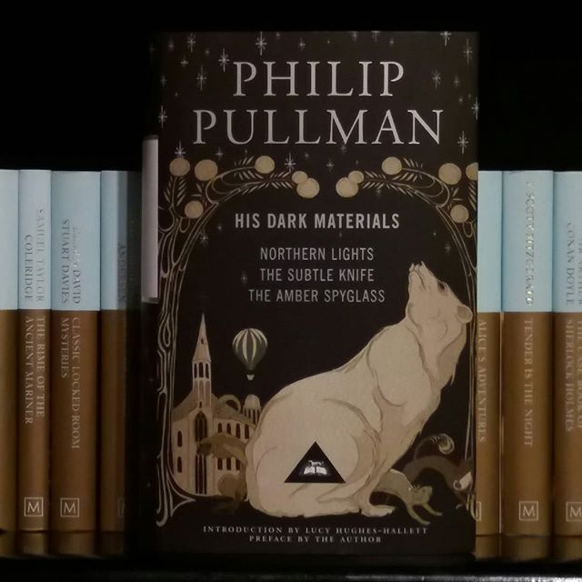 Love the cover on this new Philip Pullman book - His Dark Materials - Waterstones Bath. Northern Lights / The Subtle Knife / The Amber Spy Glass Bx  #Waterstones #bookshop #booksandcoffee #books #oxford #northernlights #philippullman #beblackwell #authorbeblackwell