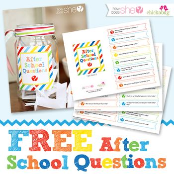 Free printable after school questions - conversation starters to get your kids talking after school : )
