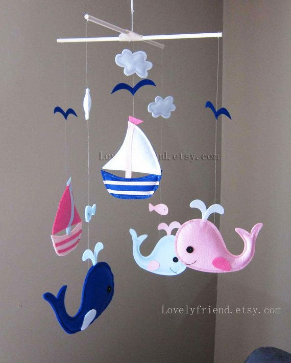 "Baby Mobile - Whale and Sailboats Crib Mobile - Handmade Nursery Mobile - ""Chasing Whales"" (Match your bedding)"