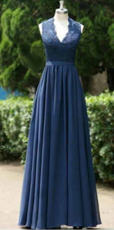 Blue Long A-Line Backless Lace V-Neck Chiffon Prom