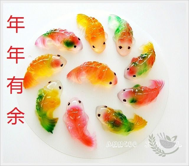 Koi fish jellies for the New Year from anncoojournal.com