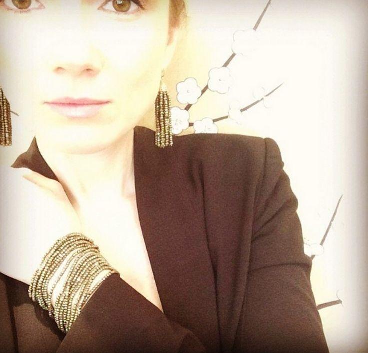 Jan Logan Pyrite Tassel earrings and Pyrite Sara Bracelet