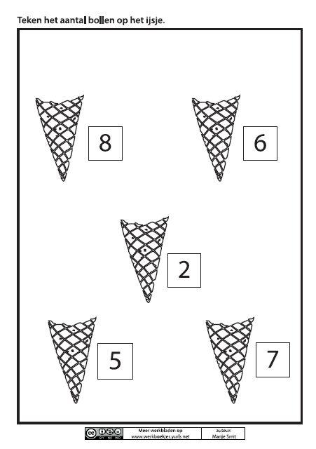Teken het aantal bollen op het ijsje [Juf Marije]