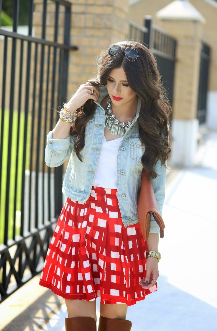 SEPTEMBER 24, 2014 PICNIC PRINT... - DENIM JACKET: old (similar here) | WHITE TEE: BP | GINGHAM SKIRT: old (similar here, here, & here) | BOOTS: Louise Et Cie | SUNGLASSES: Ray-Ban | WATCH: Michel Kors | BRACELETS: David Yurman | CLUTCH: old (similar here) | LIPS: Bare Minerals c/o