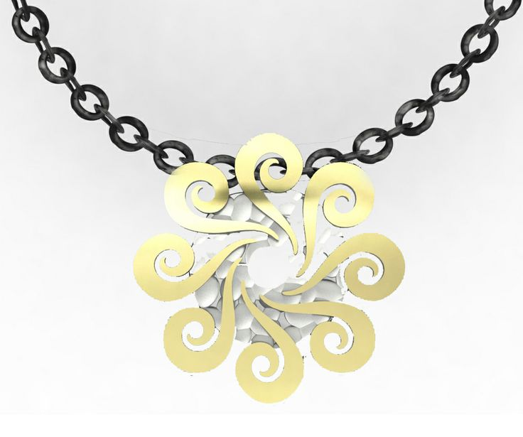 925 Sterling silver Pendant Yellow 18k. Gold + chain #bohemme #jewelry #gold #necklace #bohemian #fashion