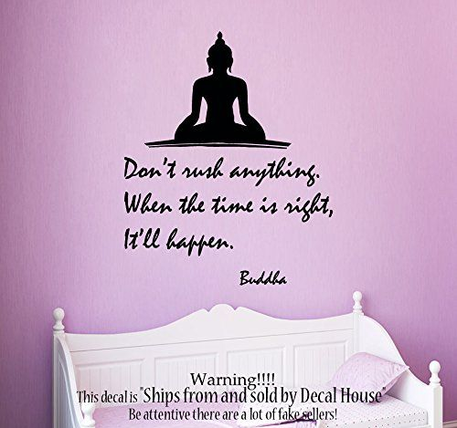 Wall Decals Quote Dont Rush Anything When the Time Is Right Itll Happen Buddha Vinyl Decal Yoga Sticker Art Mural Yoga Studio Interior Design Home Decals for Bedroom Living Room Decor KT139 ** Click image to review more details. (Note:Amazon affiliate link)