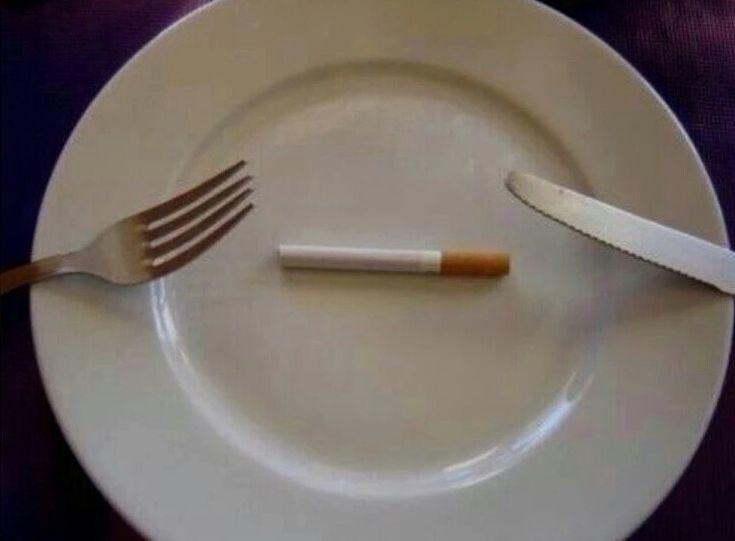 Cigarette on plate for dinner meme