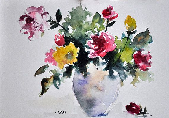 ORIGINAL Watercolor Painting, Still Life Floral Painting ...