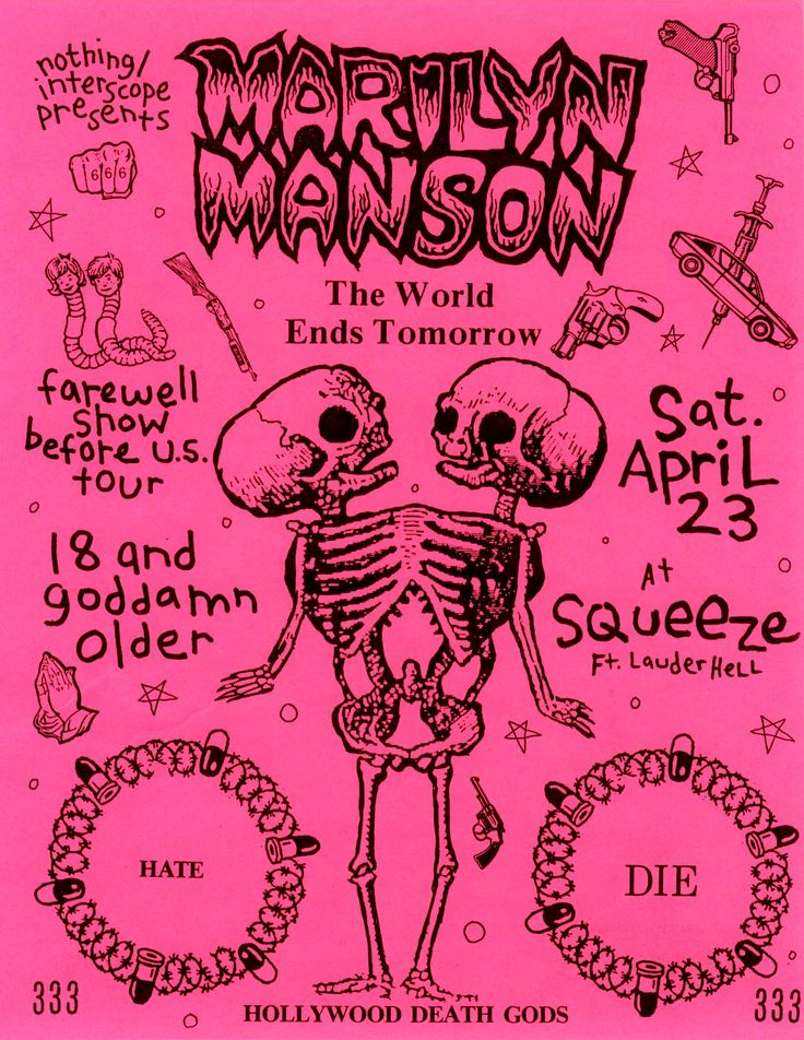 Would love to have seen the early shows! Early Marilyn Manson concert flyer. 1994.