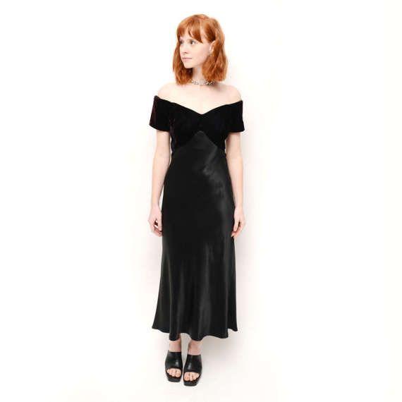 Vintage 90s Black Midi Dress/ Off The Shoulder 90s by TheWanderly