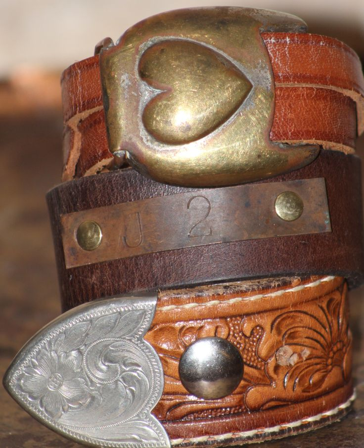 leather cuffs made from recycled belts