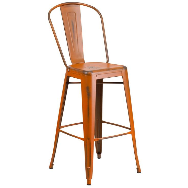 30 in. Distressed Orange Bar Stool