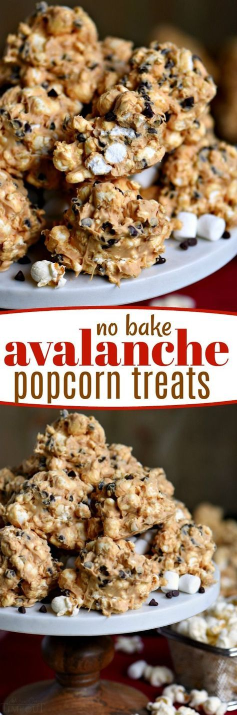 No Bake Avalanche Popcorn Treats are a must-make for the holiday season and the perfect addition to cookie trays! Peanut butter, popcorn, marshmallows and chocolate chips combine for an easy, no bake treat that everyone will love! // Mom On Timeout #nobake #popcorn #peanutbutter #ad @FritoLay #mingleinabox #sweepstakes