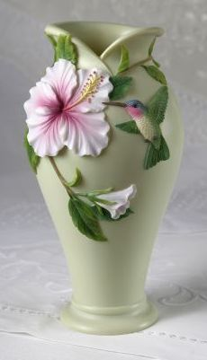 Hummingbird and Hibiscus Table Vase