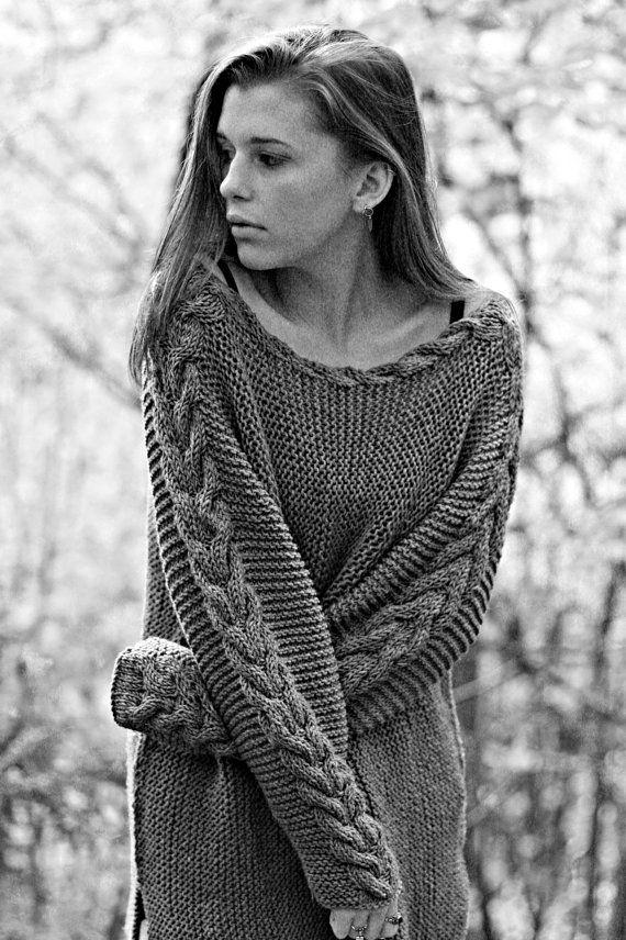 Punto - Descargar PDF - un flojo ajuste suéter de lana elegante.  Patrón digital disponible para descarga instantánea inmediatamente después del