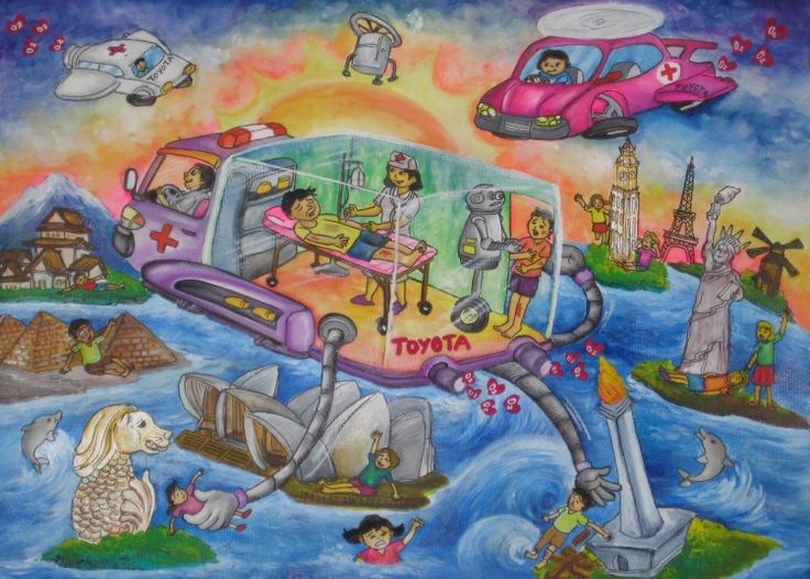 'Toyota Car Leveraging Safety Technology' by Jessica Wongsodiharjo, Aged 12, Indonesia: 4th Contest, Bronze #KidsArt #ToyotaDreamCar