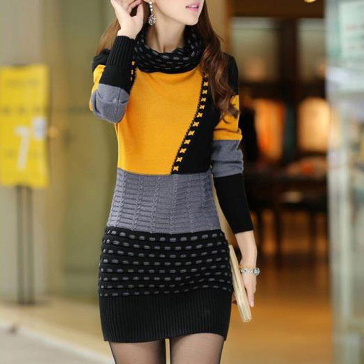2016 New Fashion Women Winter Dress Turtleneck Long Sleeve Knitted Sweater Dress Slim Sexy Dress Women Sweaters Pullovers WZQ111