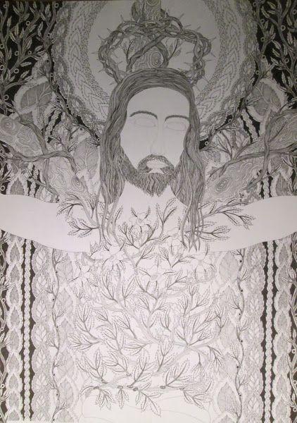 JESUS JH 2016, autorská perokresba 11/12/2016,Johana Hájková