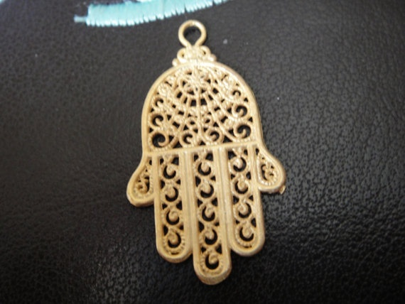 Vermeil18k gold over 925 Sterling silver hamsa hand charm by usaw, $7.75