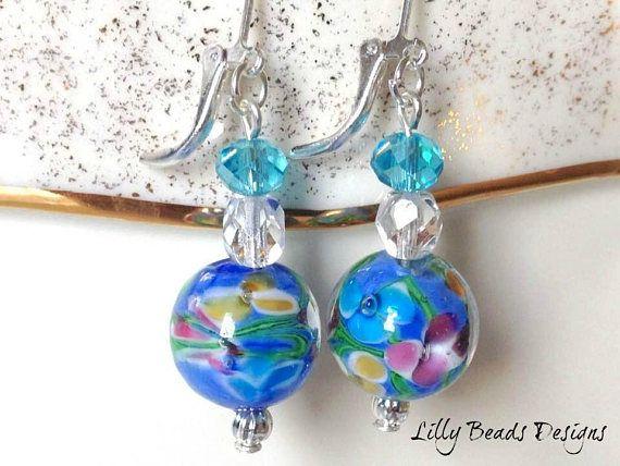 Lampwork Earrings,Blue Dangle Earrings,Flower Drop Earrings,Glass Earrings,Blue Earrings,Flowers Earrings,Lampwork Flowers,Lampwork Glass