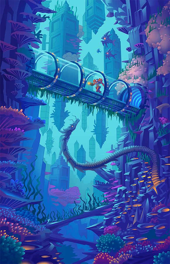 """cyrail: """" Depths of Maridia by Francoyovich Featured on Cyrail: Inspiring artworks that make your day better """""""