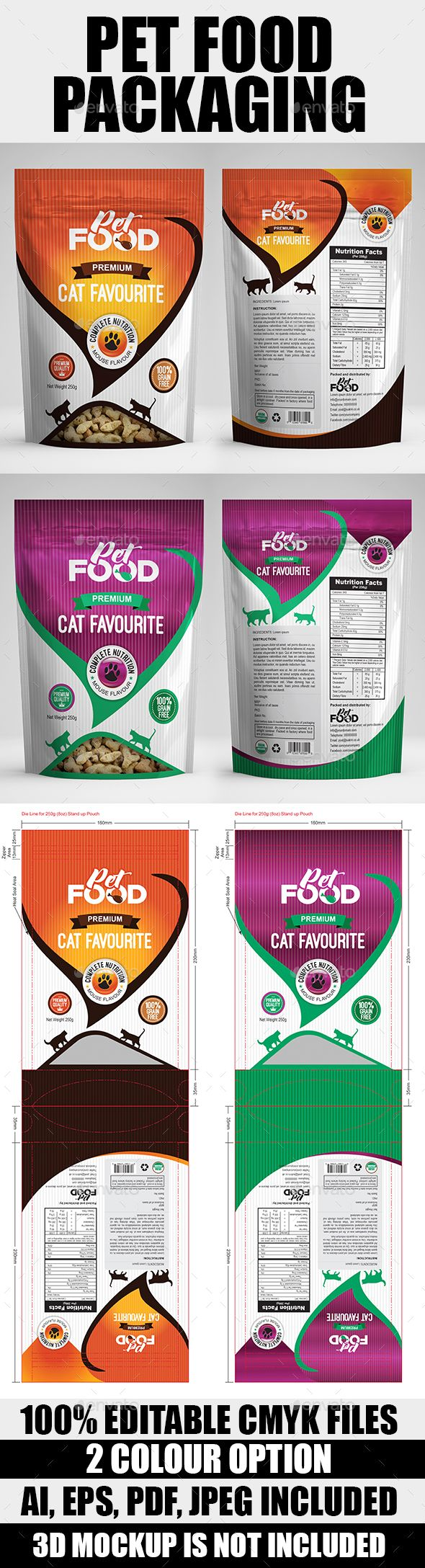 Pet Food Bag Packaging Design Template  — AI Template • Only available here ➝…