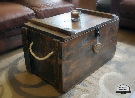 Rustic Waxed Pine Wooden Blanket Box Storage Chest by RusticOwlUK