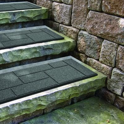 For Outdoor Steps. EnviroTile   Cobblestone Grey Stair Tread   10 Inch X 24  Inch