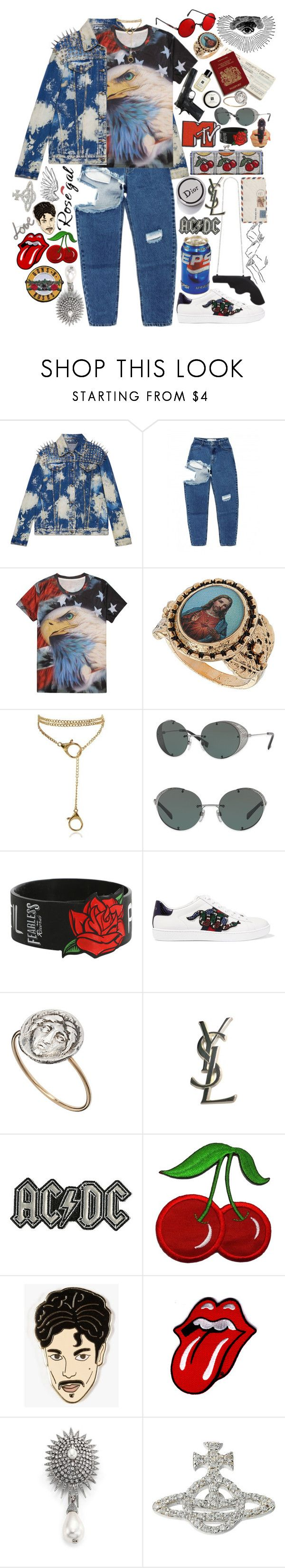 """Rosegal: Flag Print T-shirt Americana"" by styling-w-mabel ❤ liked on Polyvore featuring Gucci, Valentino, Hot Topic, Laura Lee, Yves Saint Laurent, Georgia Perry, Oscar de la Renta, Vivienne Westwood, Lanvin and men's fashion"