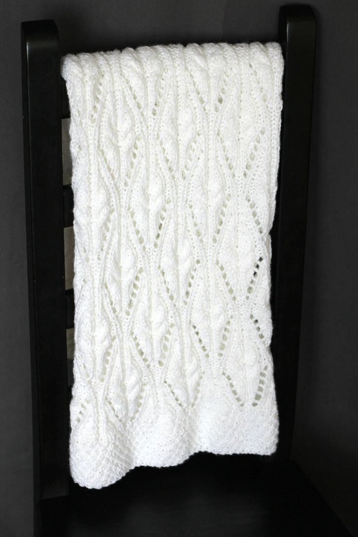 Knitting pattern for laced baby blanket. The pattern is ...