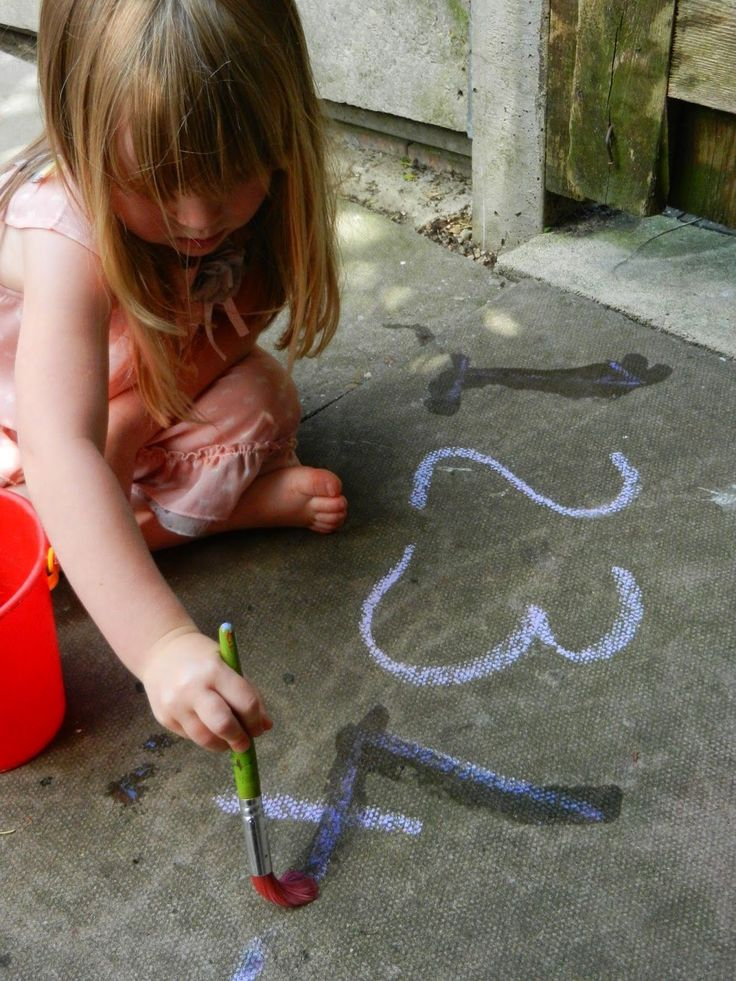 Letter and number formation outdoors