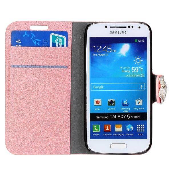 Roze glitter flipcover Samsung Galaxy S4 mini