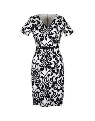 Silver Lining Brocade V Neck Shift Dress