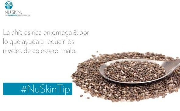 La chía ayuda a reducir los niveles malos de colesterol. #NuSkinTip